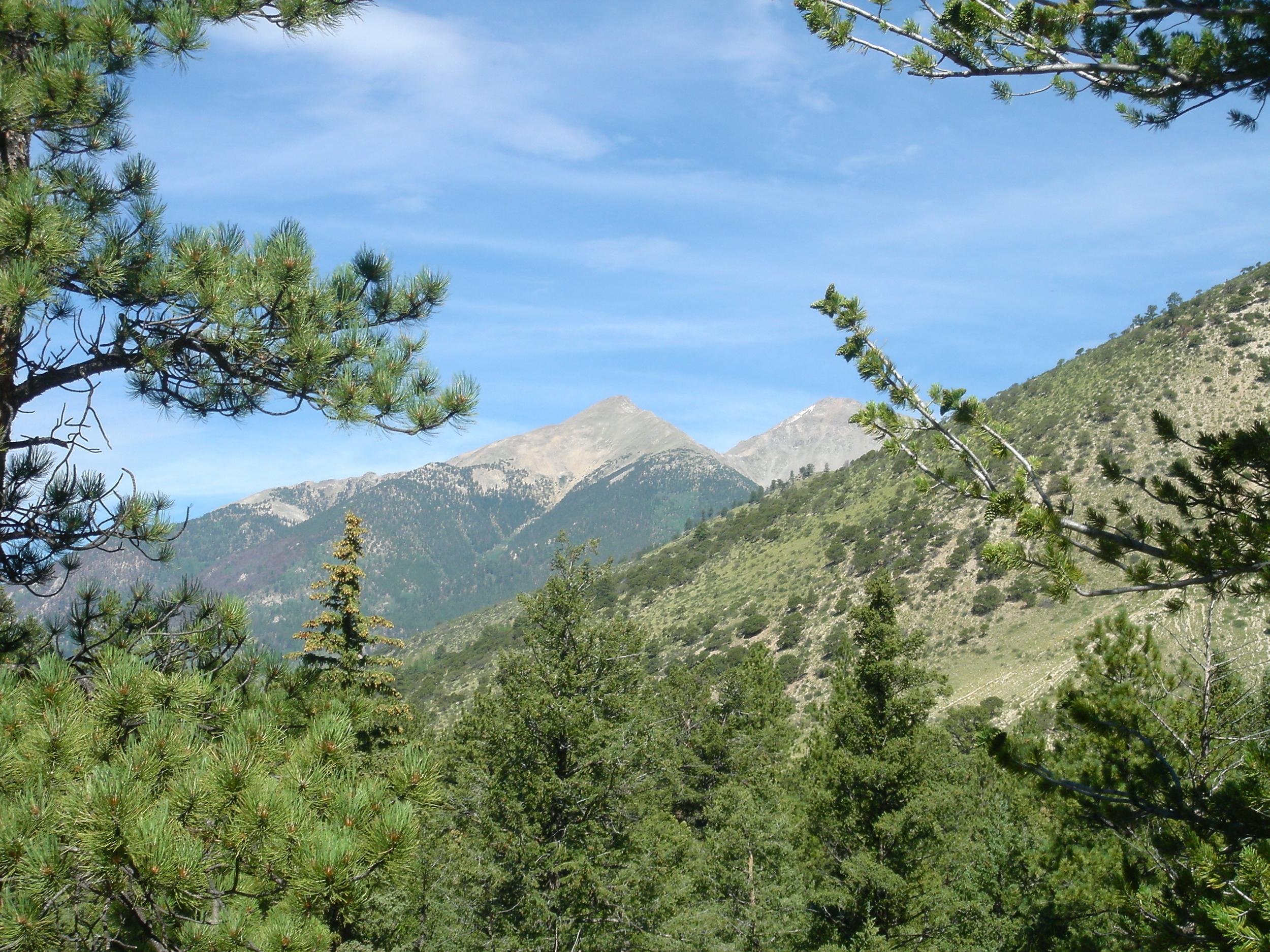 Walkers on the Colorado Trail enjoy views of several 14,000-foot peaks of the Collegiate Range of the Colorado Rockies.
