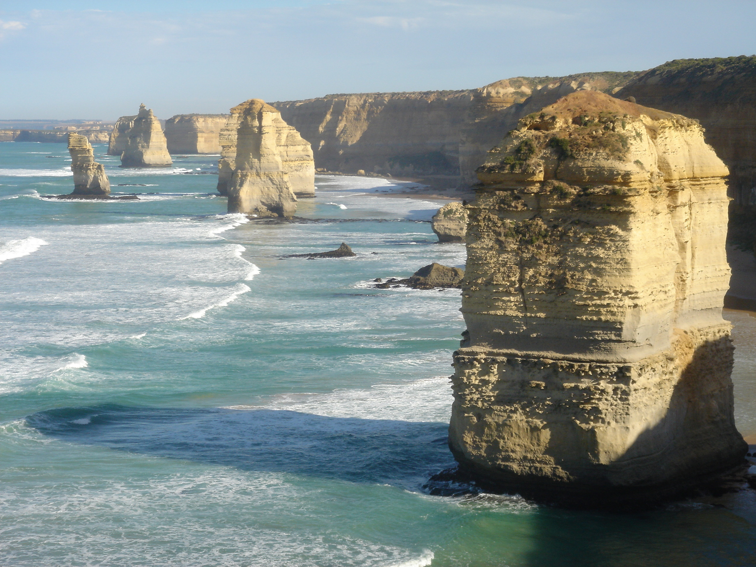 The Twelve Apostles, giant sea stacks, mark the western end of the Great Ocean Walk.