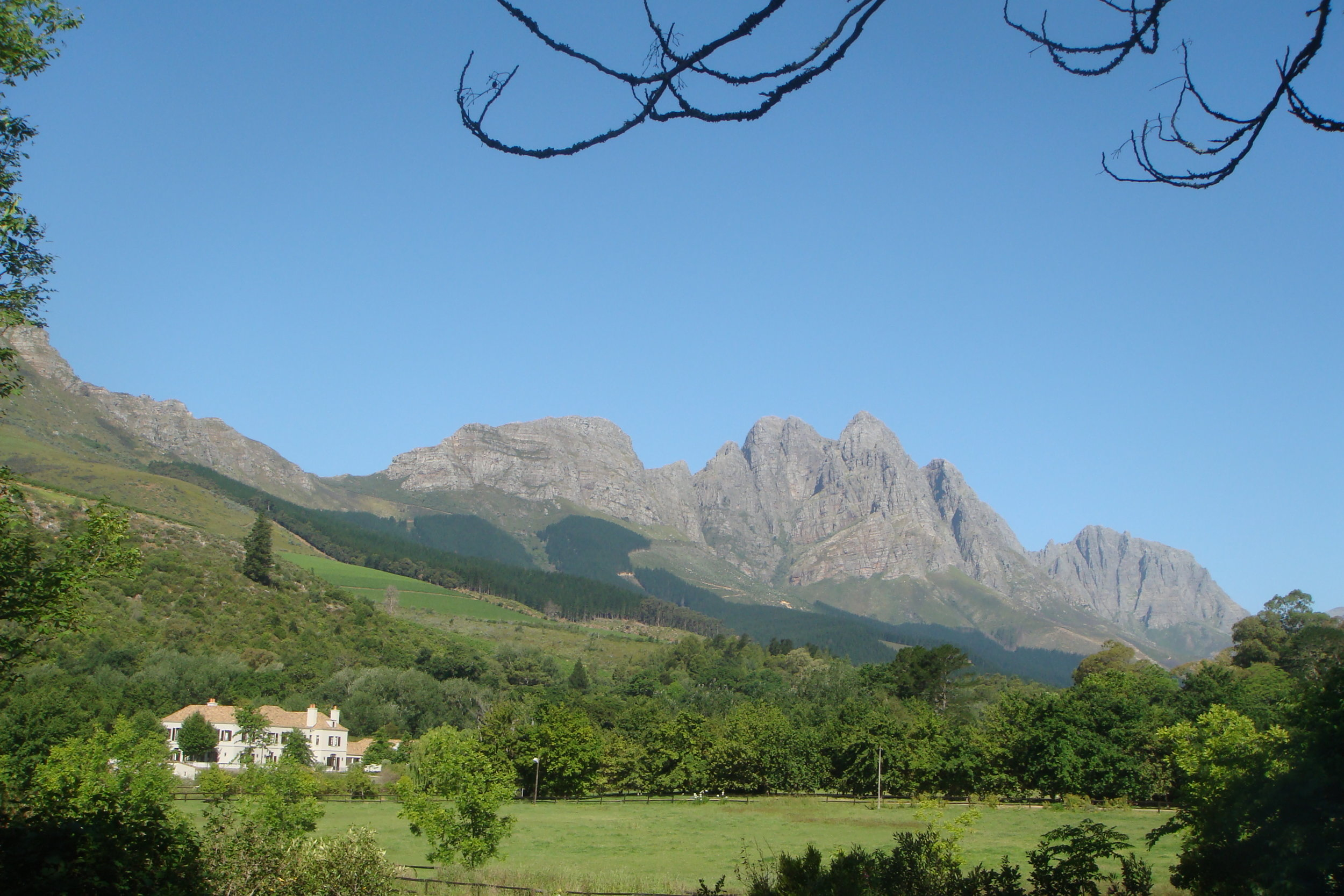 The Cape Winelands Walk wanders through the countryside and over the Hottentot Holland Mountains.