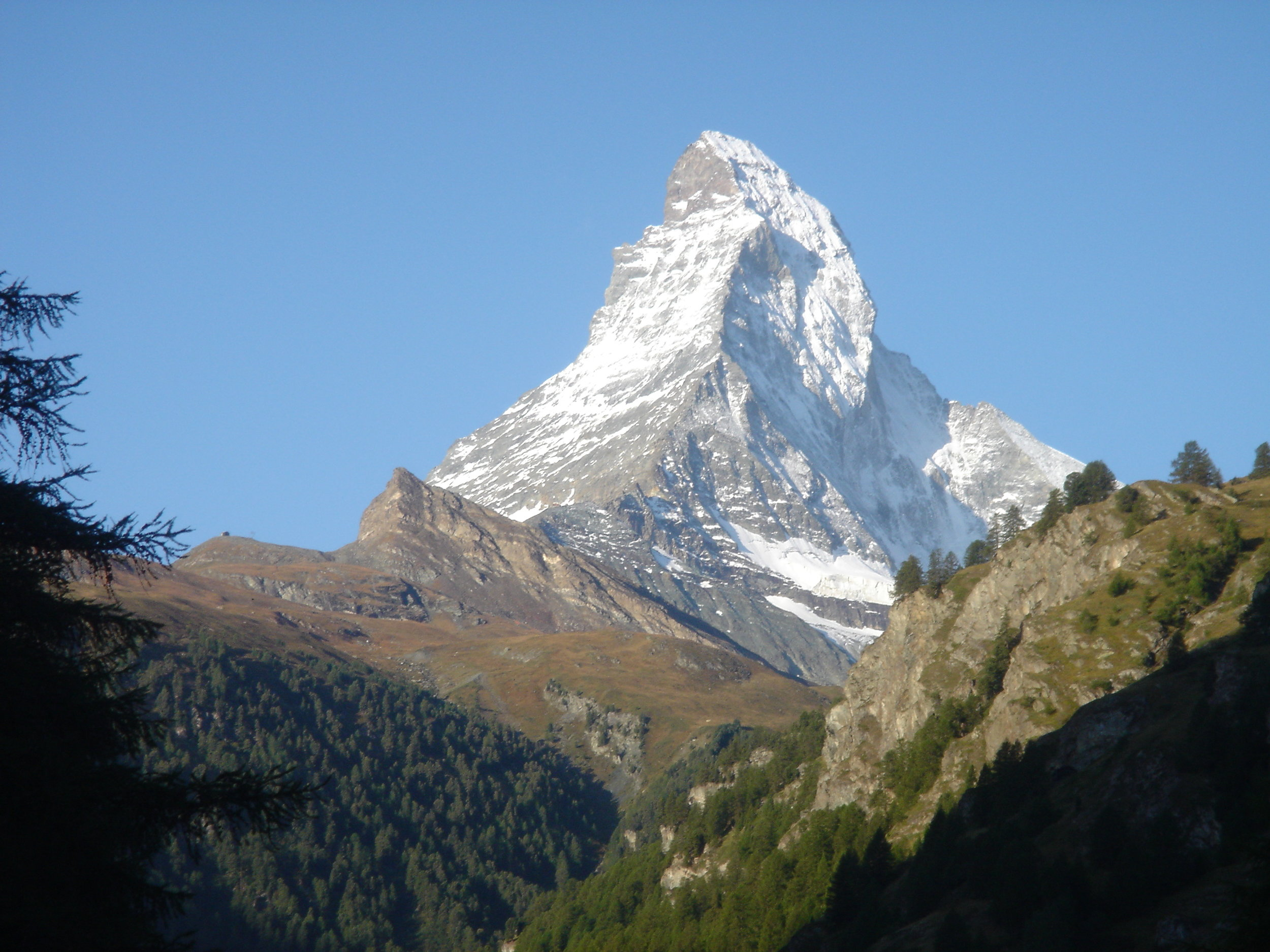 The Matterhorn rises above Zermatt, the eastern end of the Walker's Haute Route.