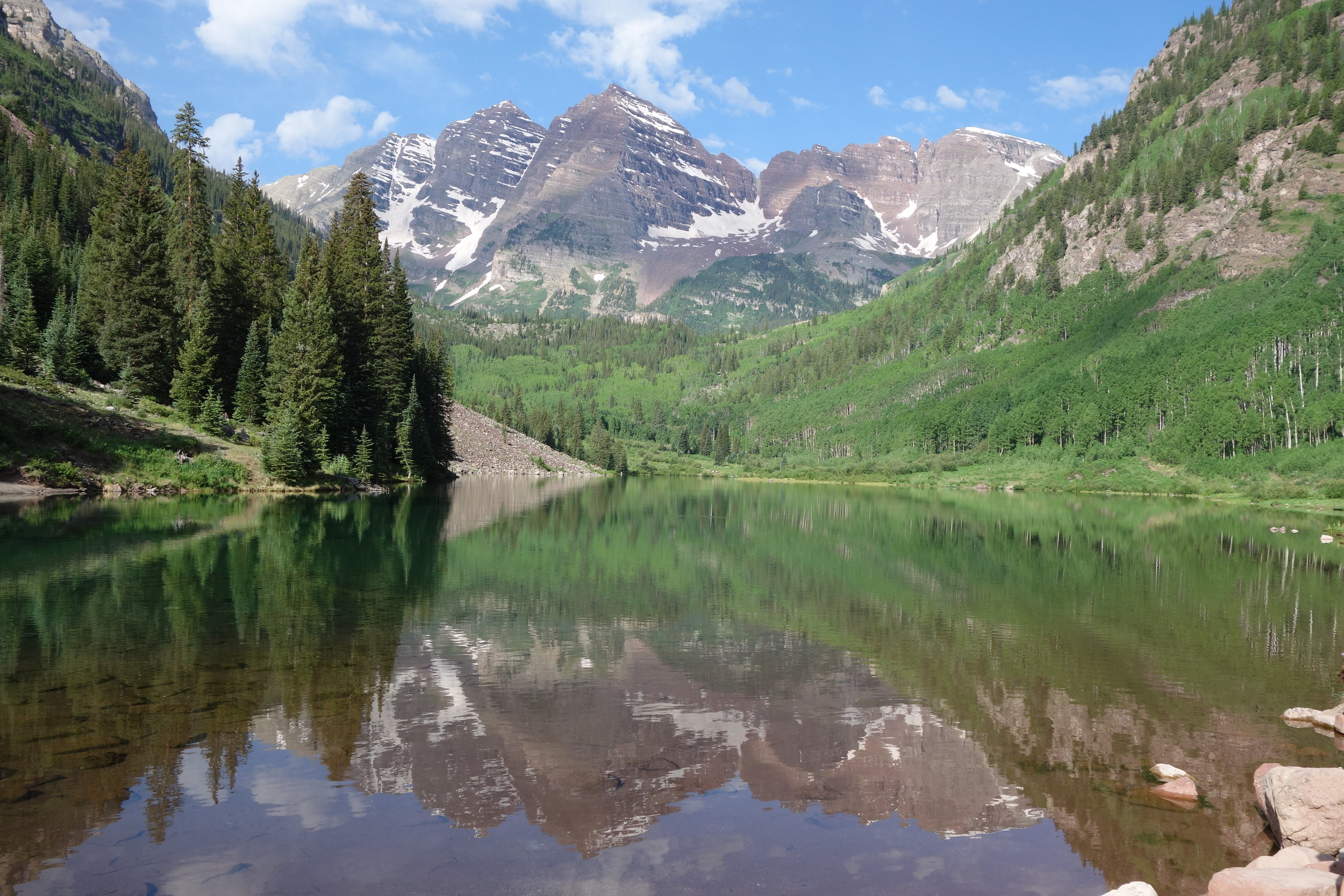 Maroon Lake reflects the images of 14,000-foot-plus Maroon Peak and North Maroon Peak; perhaps this is the most photographed scene in the Rocky Mountains.