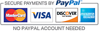 We accept Mastercard, Visa, Discover, American Express and Paypal.