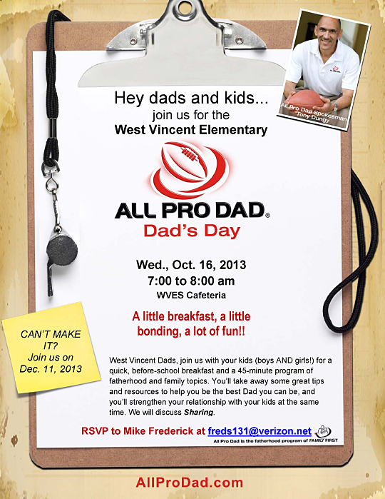 All Pro Dads Breakfast at West Vincent Elementary School on October 16