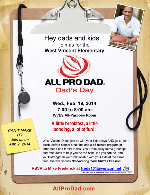 Dads and Kids, Join us for the next All Pro Dad Breakfast on Wednesday, February 19!