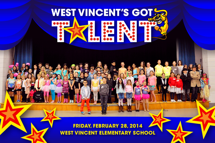 Come cheer on our 78 student performers at the West Vincent's Got Talent Show on Friday, February 28, 2014!