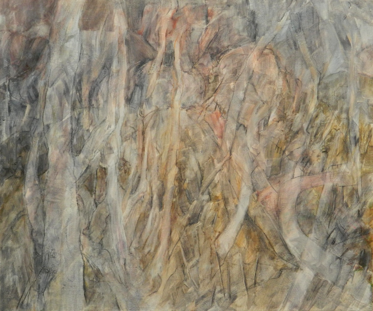 """On a new adventure here (Oils this time) Hidden and almost hidden images appear within and on the Rock's cliff face..clinging to and drawing life from it's mighty source.  This work is now titled:  """"Past Presences"""" and is priced at $875"""