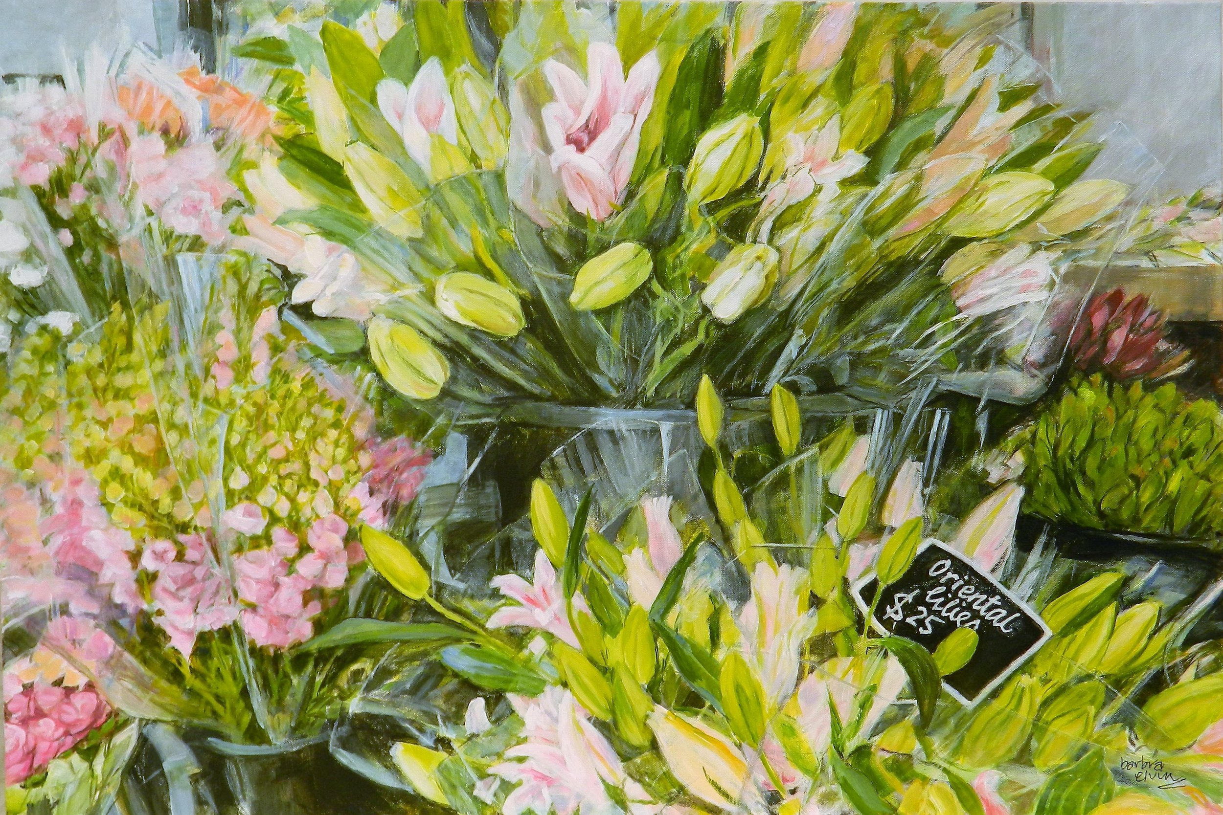 """This is the second painting in my """"Florist's Bench"""" series...called """"Oriental Lilies"""".  This painting is in Acrylic on Canvas and can be purchased privately from the artist for $950 plus handling costs."""