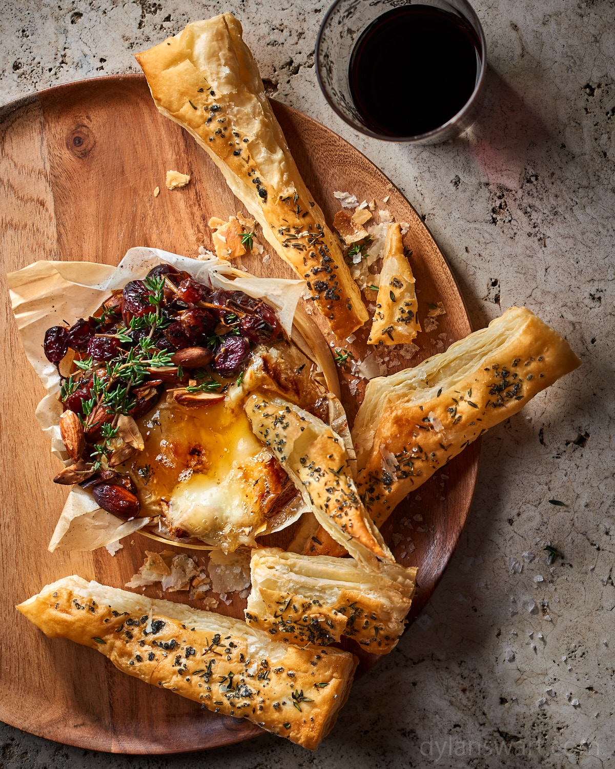 Baked Camembert with Honey-Roasted Grapes, Almonds and Puff-Pasty Shards