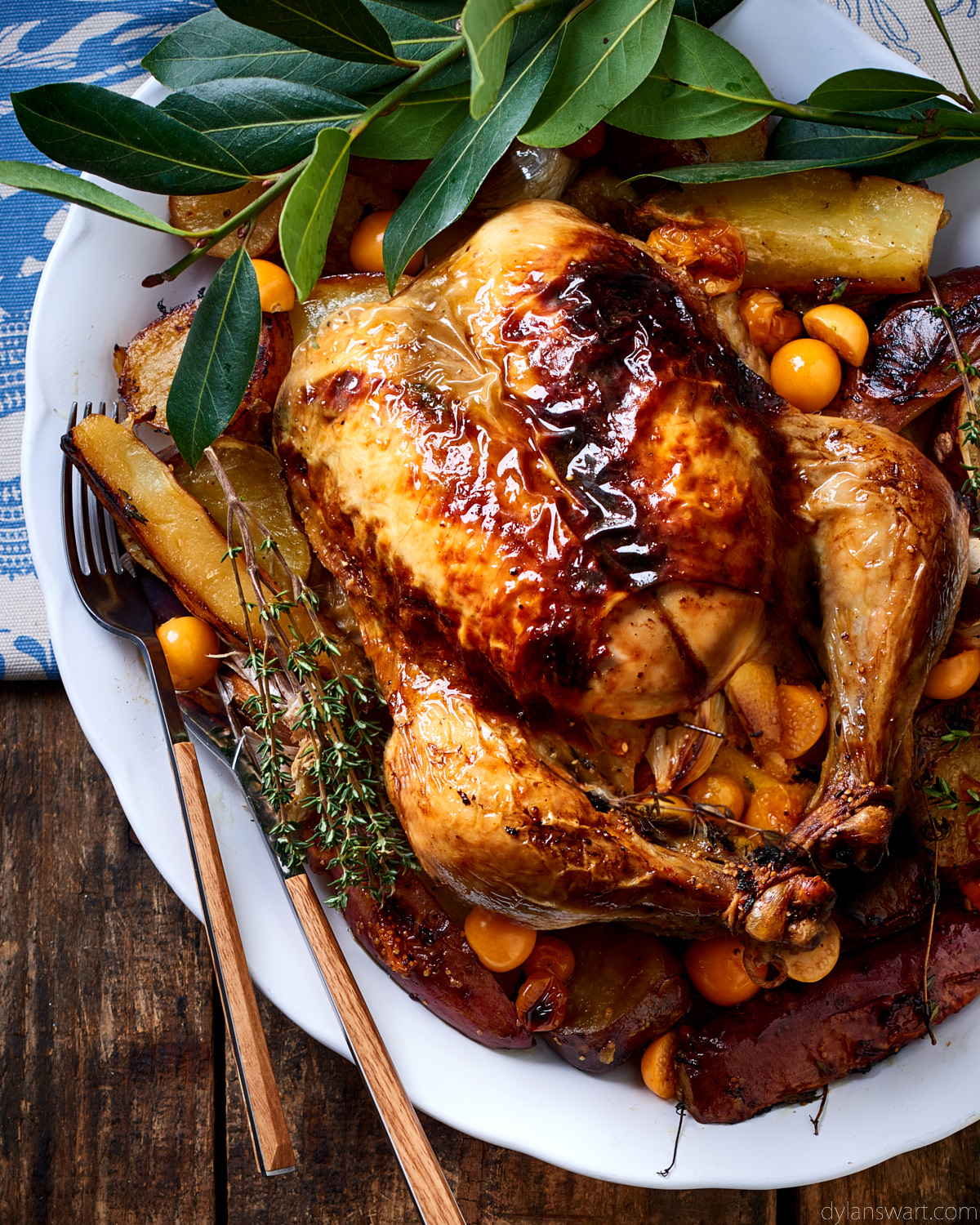 Roasted thyme-and-gooseberry-stuffed chicken