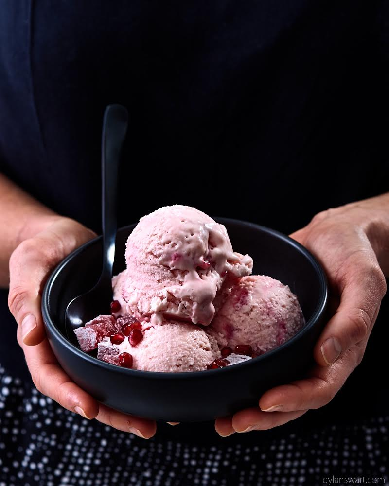 Pomegranate and rose flavoured ice cream