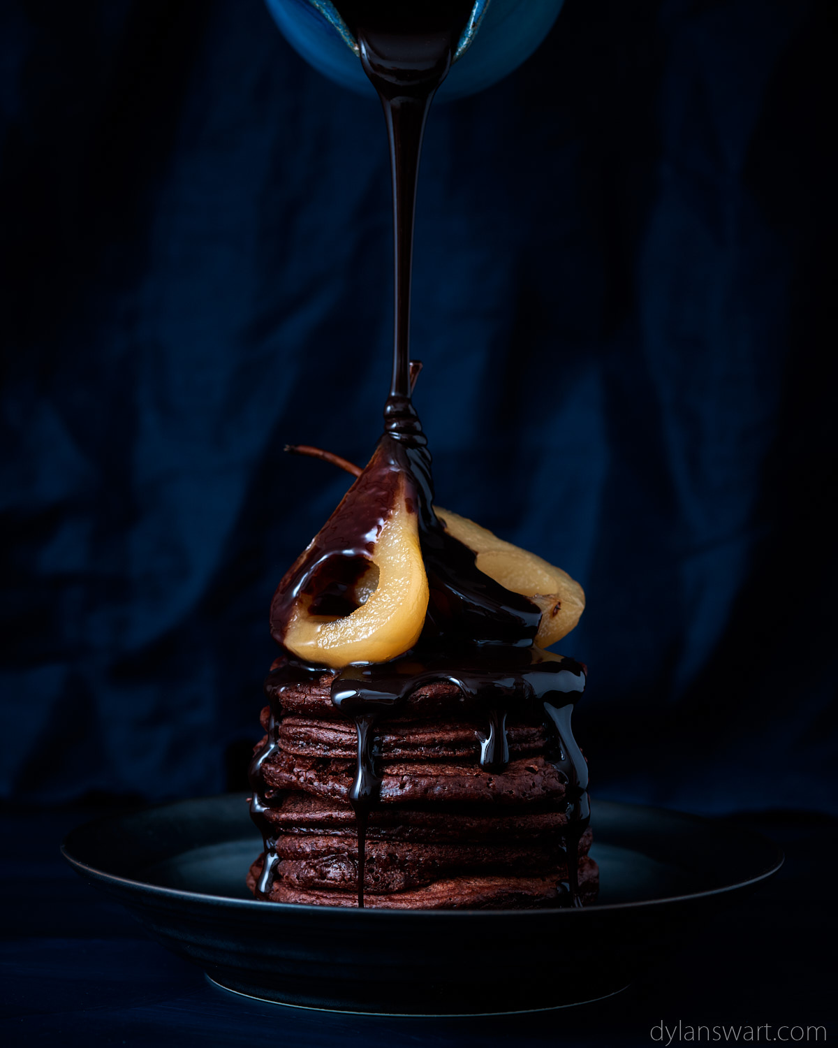 Double chocolate flapjacks with white wine poached pears