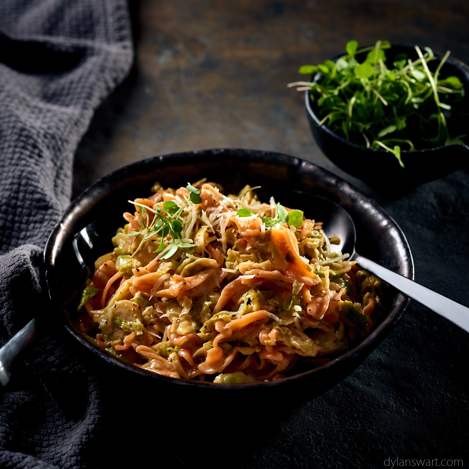 Lentil pasta with leeks and shredded brussels sprouts