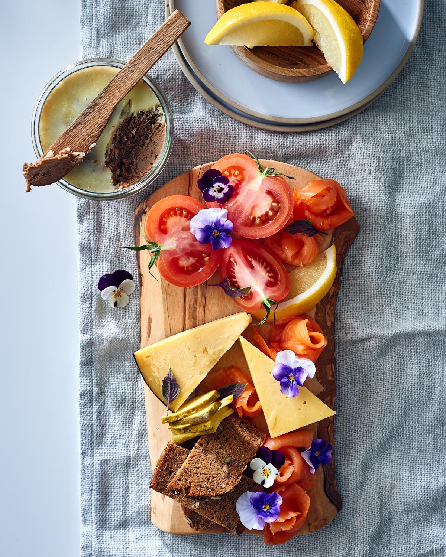 Scandinavian breakfast board with home-made chicken liver pâté