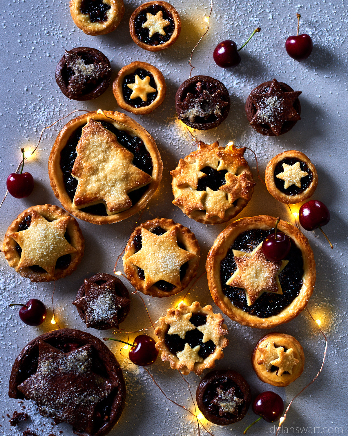 Duo of traditional, and chocolate and cherry Christmas mince pies