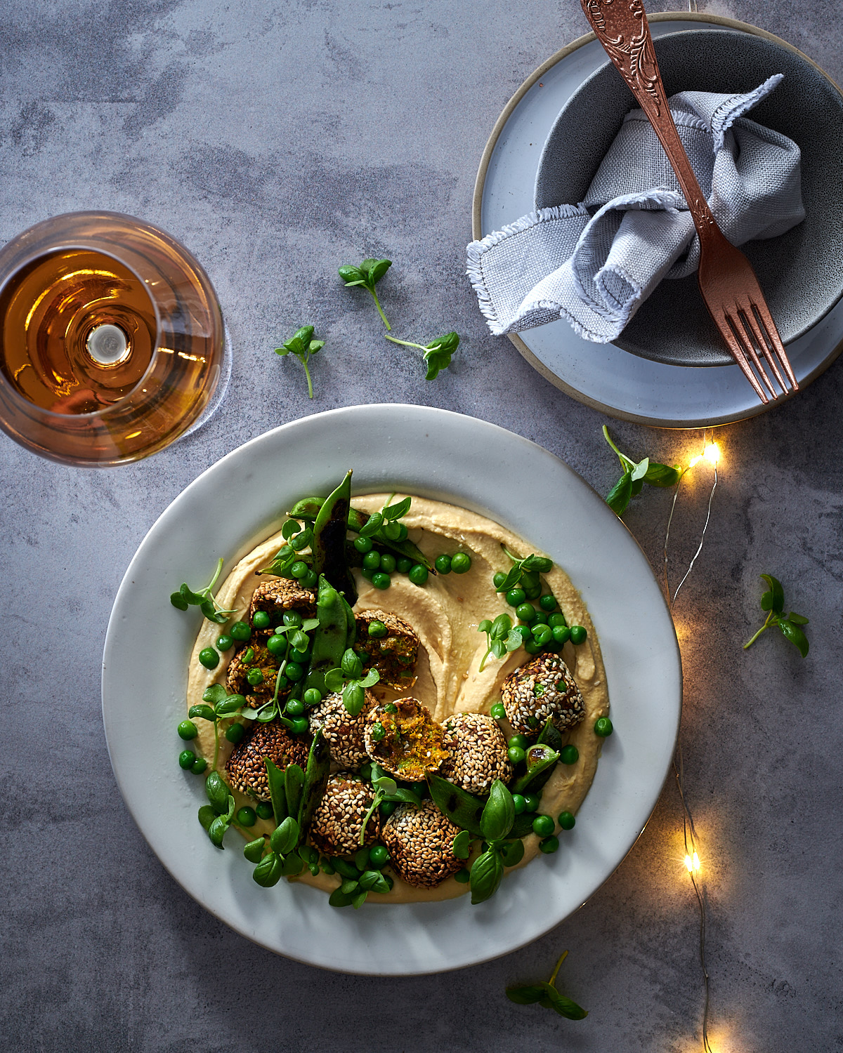 Pea falafels with charred sugar snap peas and hummus