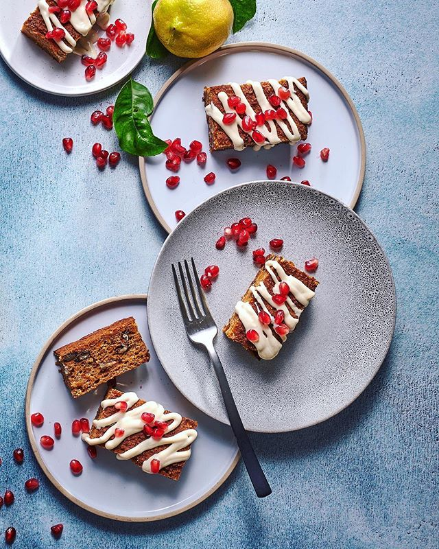 Carrot-cake slices with cream-cheese drizzle is packed with flavour and the perfect afternoon treat.  Photographed for Food & Home Entertaining Magazine Styling: @claireferrandi  Photography: @dylan_swart
