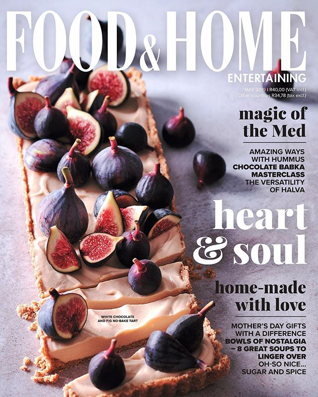 Happy Easter Weekend Everyone!  New cover photographed for the May issue of Food & Home Entertaining Magazine.  White chocolate and fig no-bake tart 👌  Recipe & Styling: @claireferrandi Photography: @dylan_swart