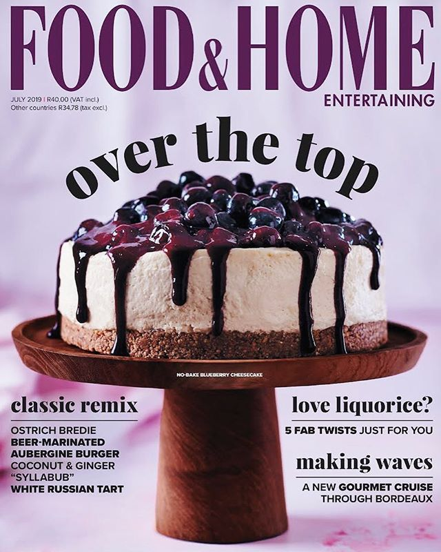 New cover photographed for the July  issue of Food & Home Entertaining Magazine.  No-Bake Blueberry Cheesecake 👌  Recipe & Styling: @claireferrandi Photography: @dylan_swart