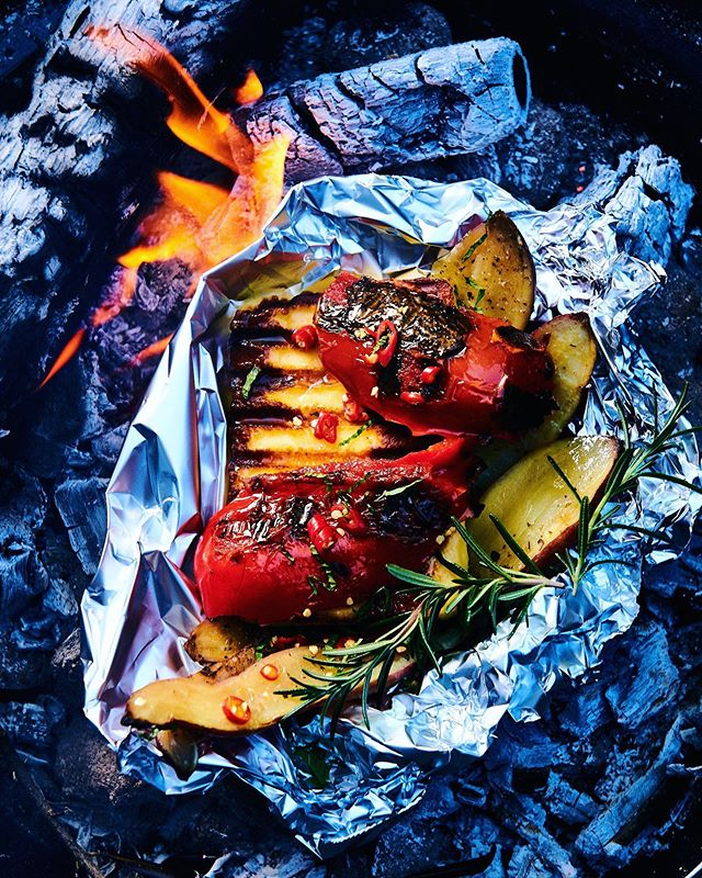 Because everything is better over coals 🔥 Sweet potato, haloumi and charred red pepper stack!  Styling: @claireferrandi  Photography: @dylan_swart  Magazine: Food & Home Entertaining Magazine