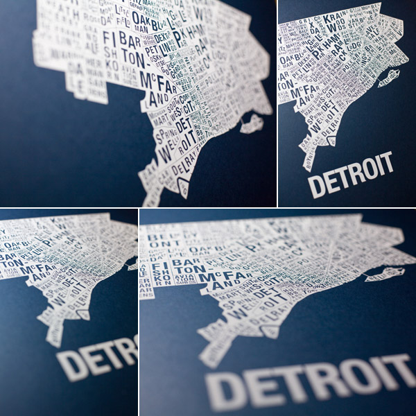 Detroit City Map Screen Printed Art Poster by Luke Emeott