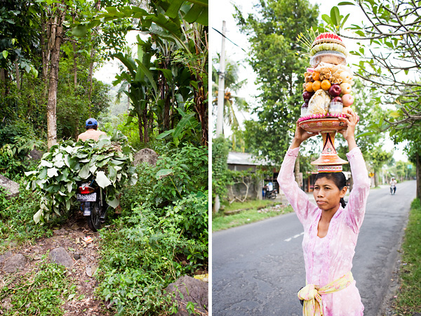 Bali Documentary Photograph, motorbike and woman carrying ceremonial foods