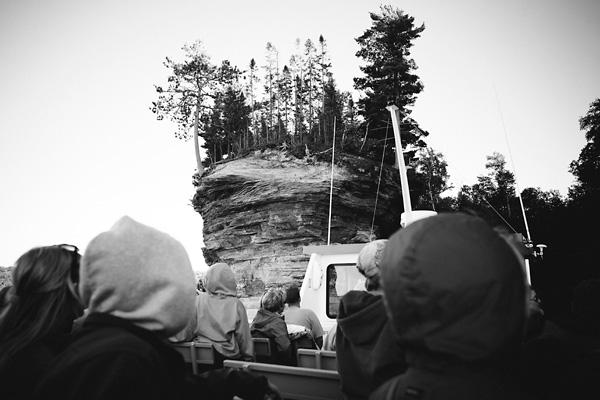 Pictured Rocks Boat Tour - Black and White Photograph by Teri Genovese