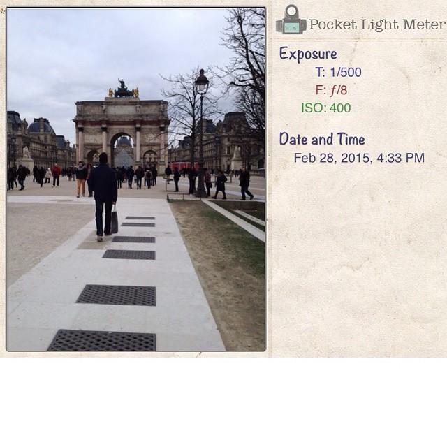 #Film photography in #Paris. Using #pocketlightmeter  to measure exposure for my Olympus ft.