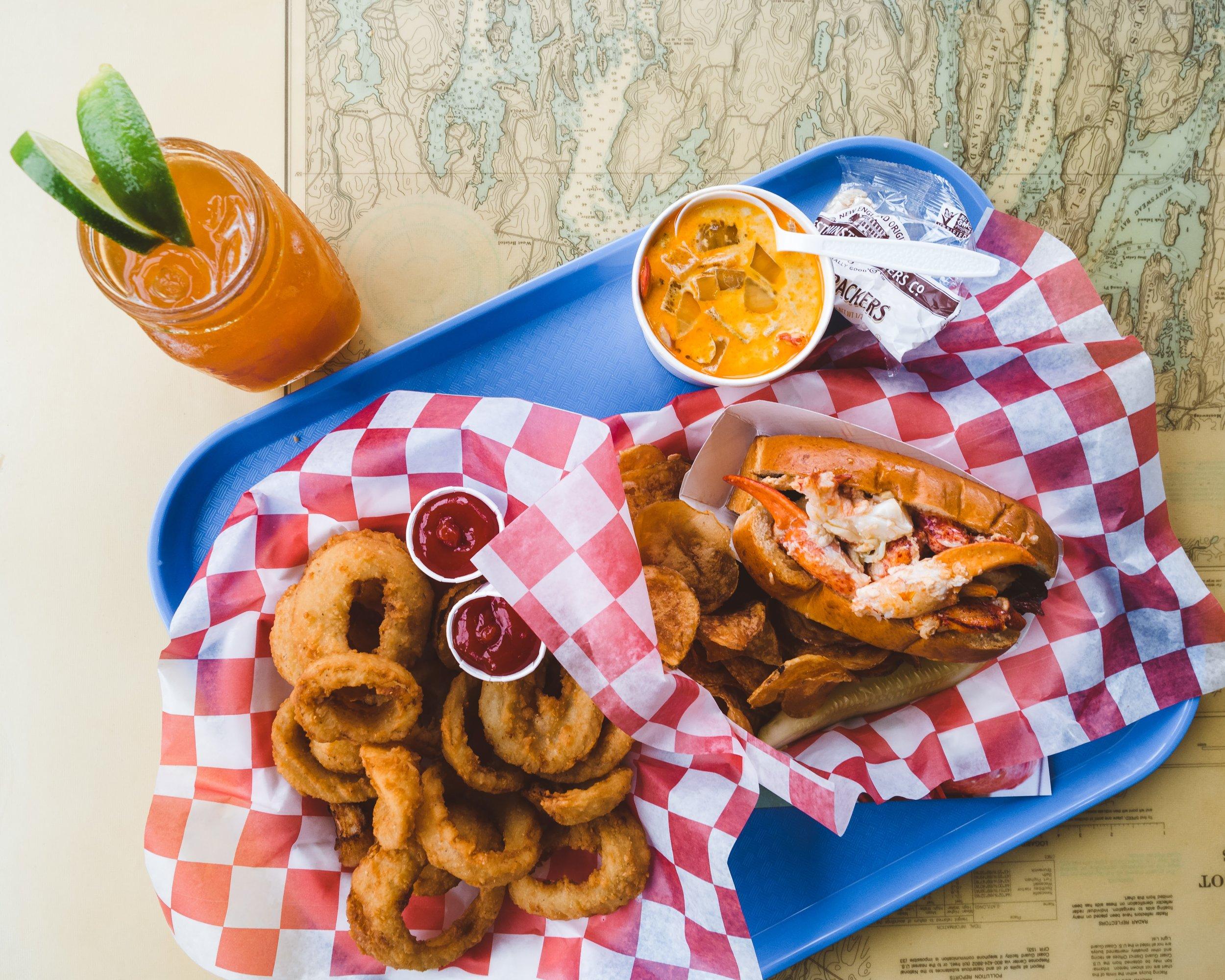 Dark & Stormy, Lobster Stew, Onion Rings, and a Lobster Roll w/Garlic Aioli.