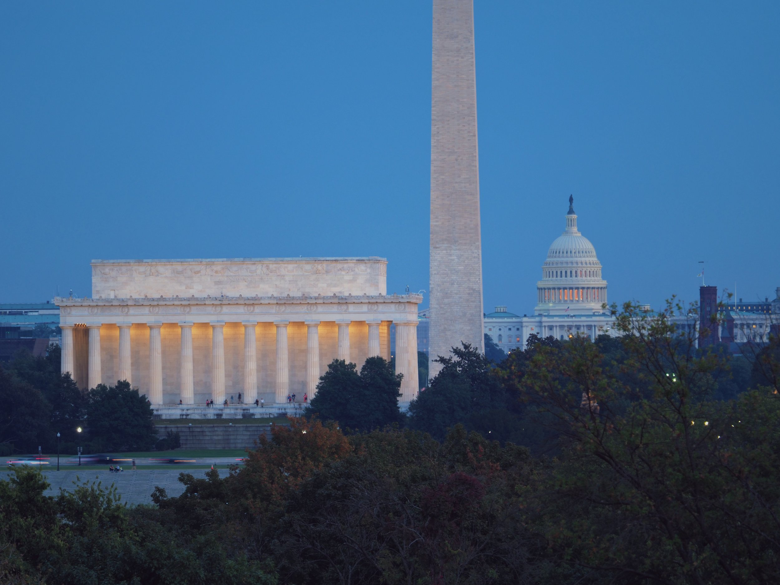 A long-ish exposure of the Lincoln Memorial, base of the Washington Monument, and U.S. Capitol Building.