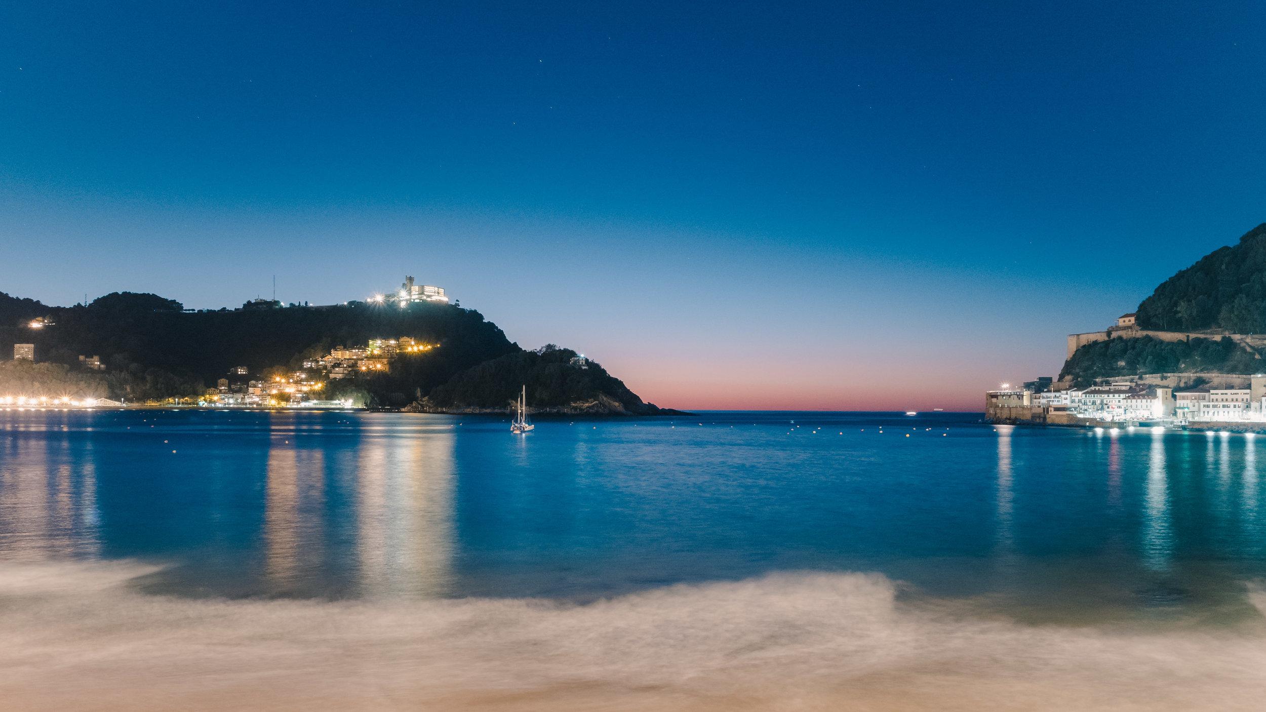 Night over the bay in San Sebastián.