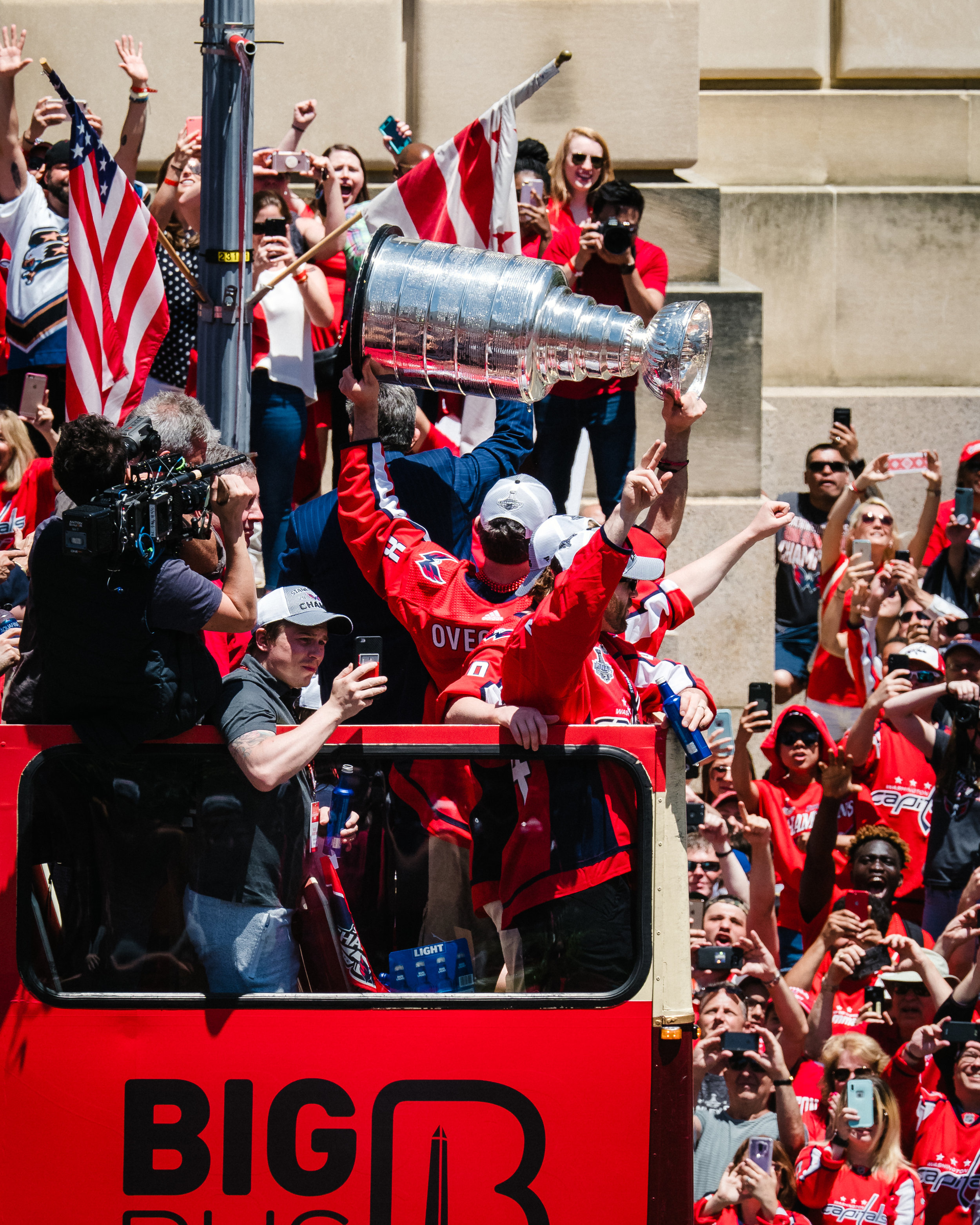 To the delight of throngs of Capitals fans, Alex Ovechkin hoists the Stanley Cup.