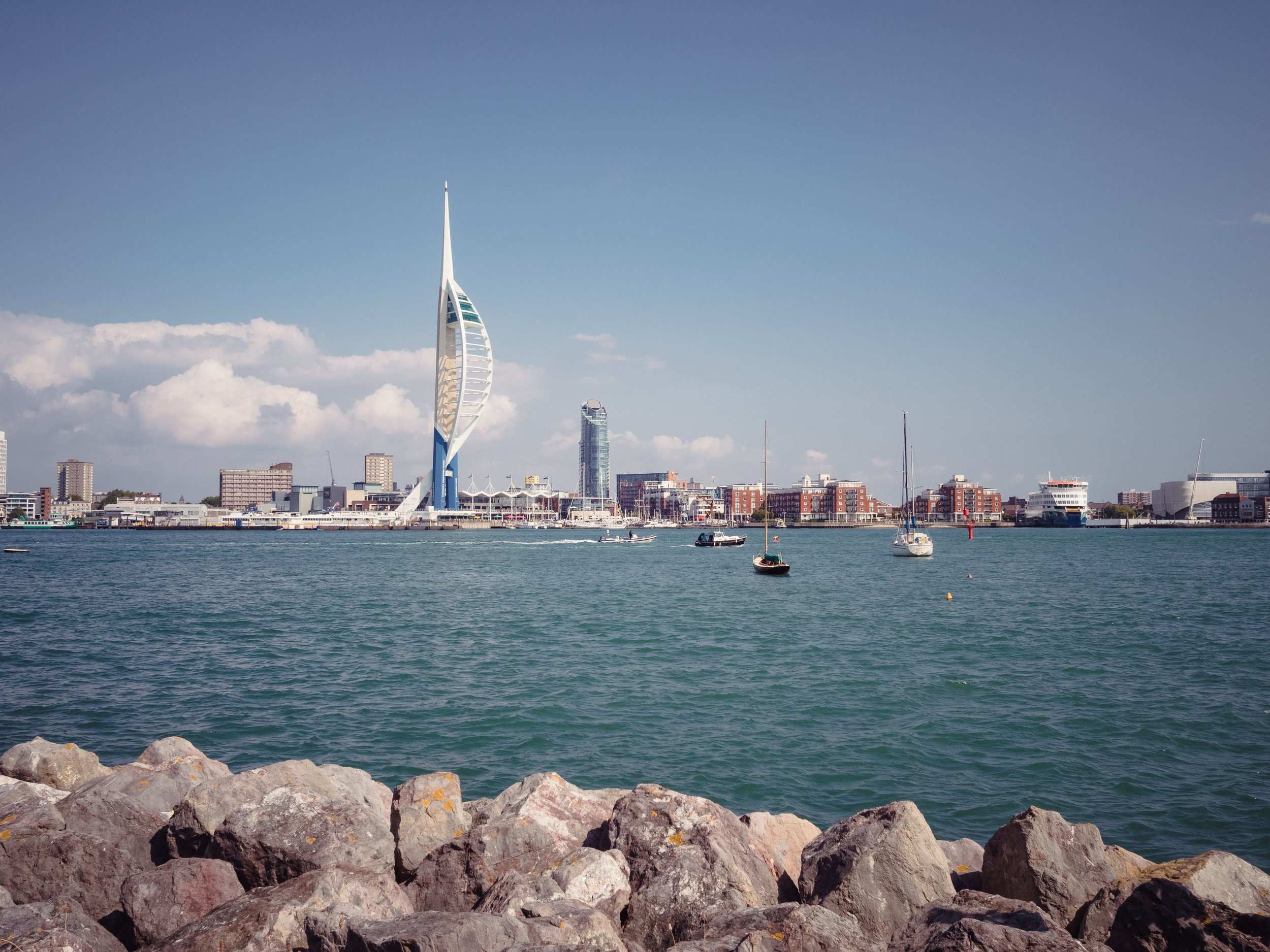 The view of Portsmouth and its Spinnaker Tower from across the harbour in Gosport.