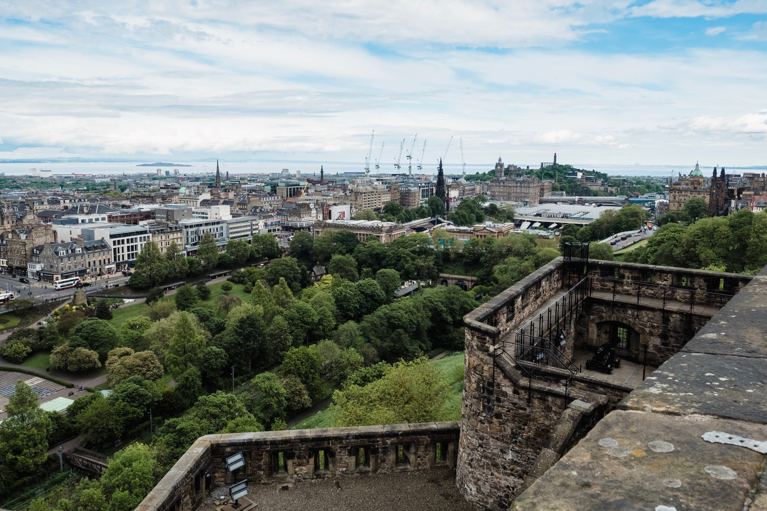 Princes Street Gardens and downtown Edinburgh from the top of Edinburgh Castle.