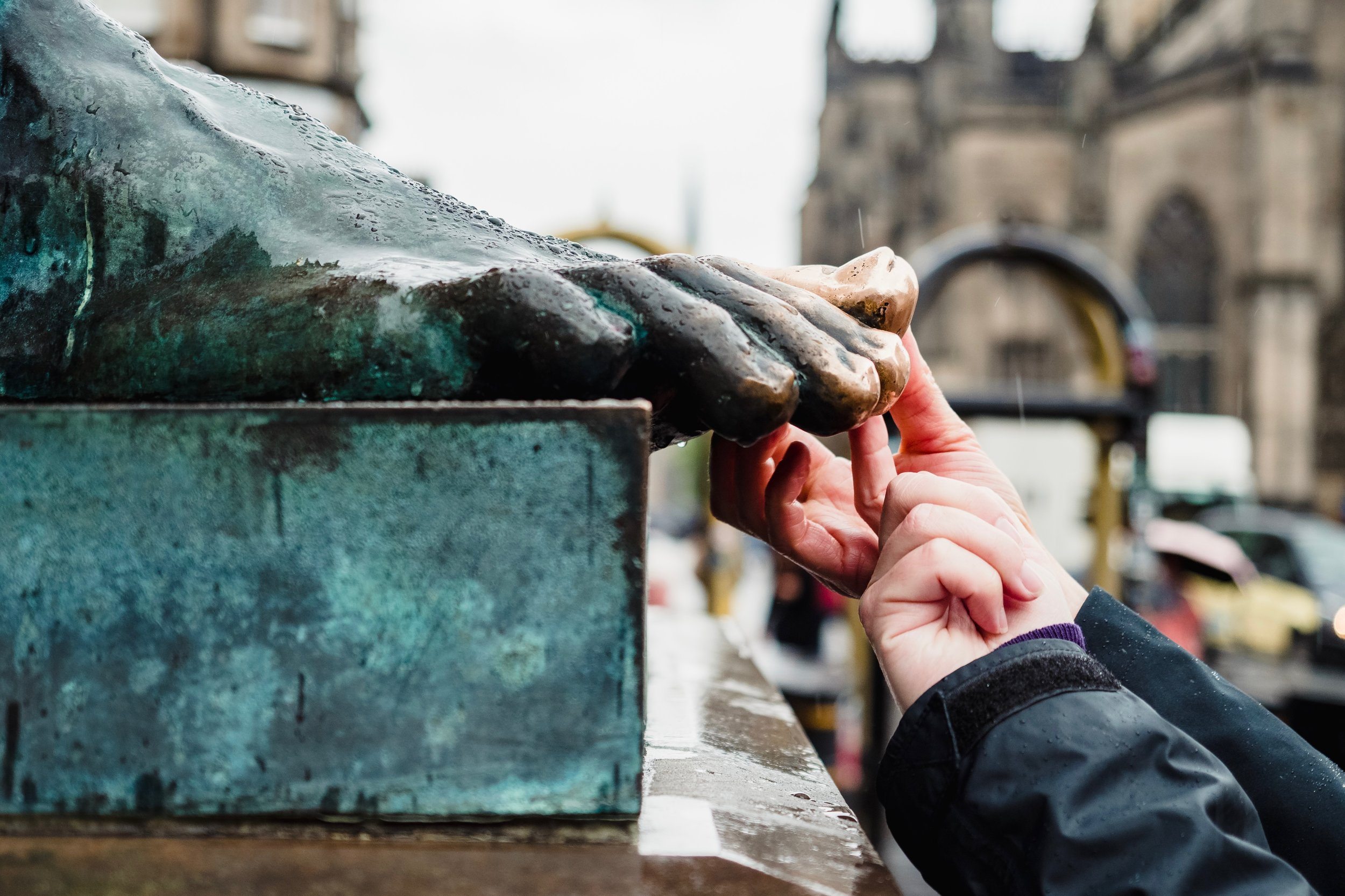 How many hands must've rubbed the toe of this David Hume statue for luck?