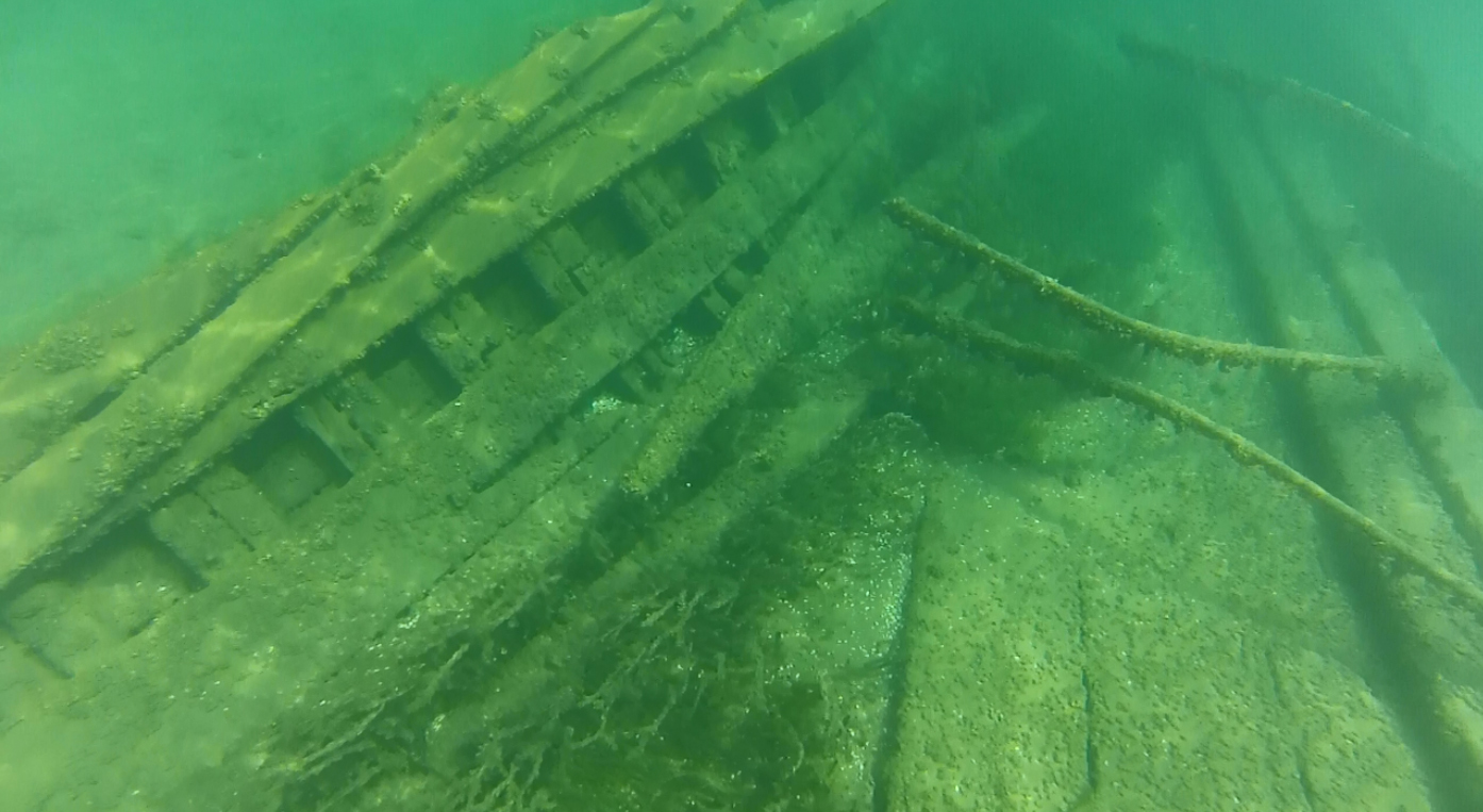 The old barge in 20 feet of water near Hessel, michigan (c) 2015 Ric mixter