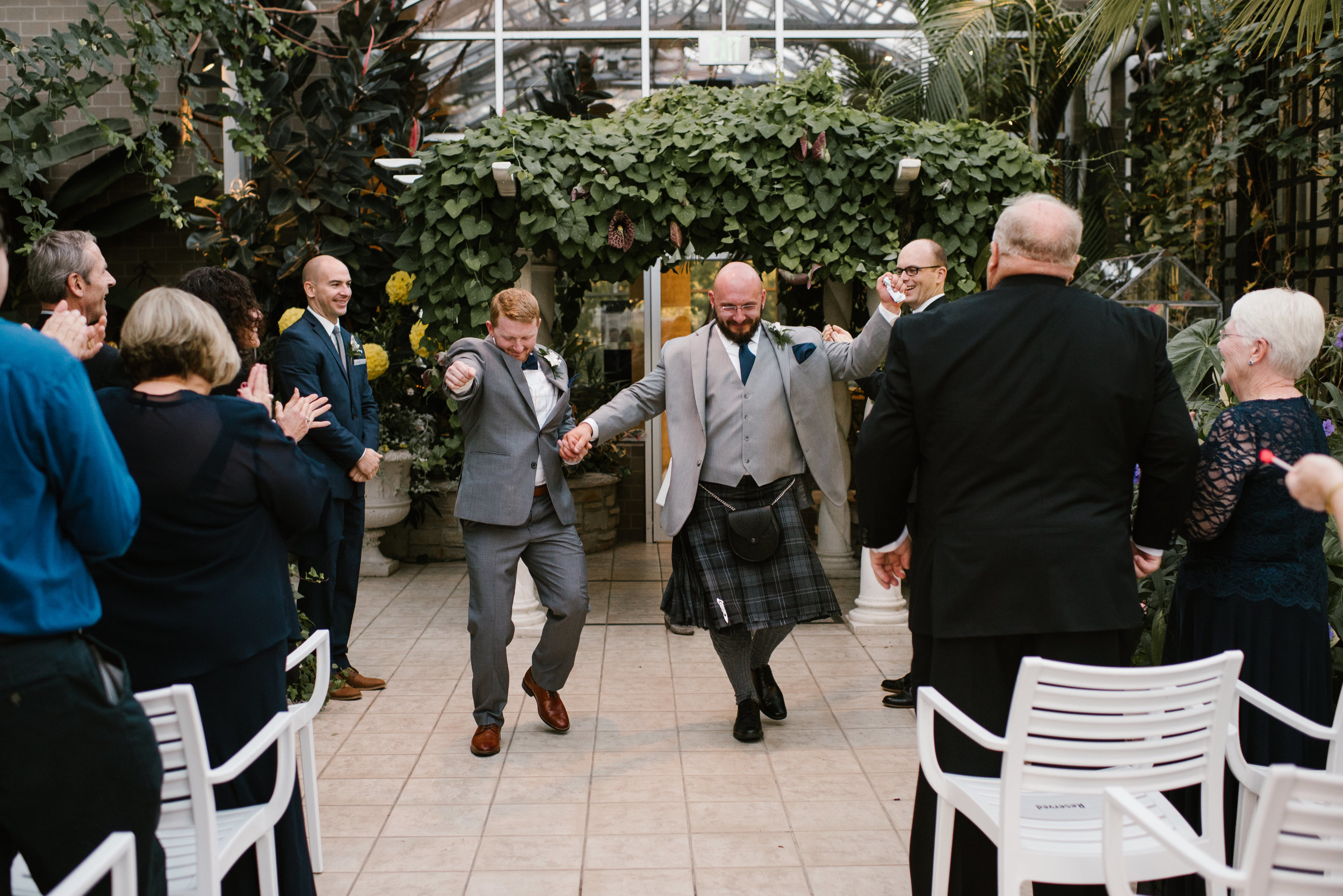 same sex wedding at Frederik Meijer Gardens