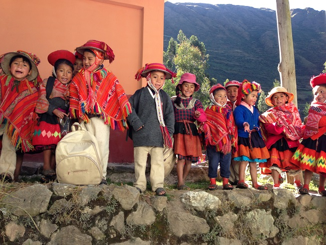 Some Peruvian school children from a village located at over 3000 m in the mountains.