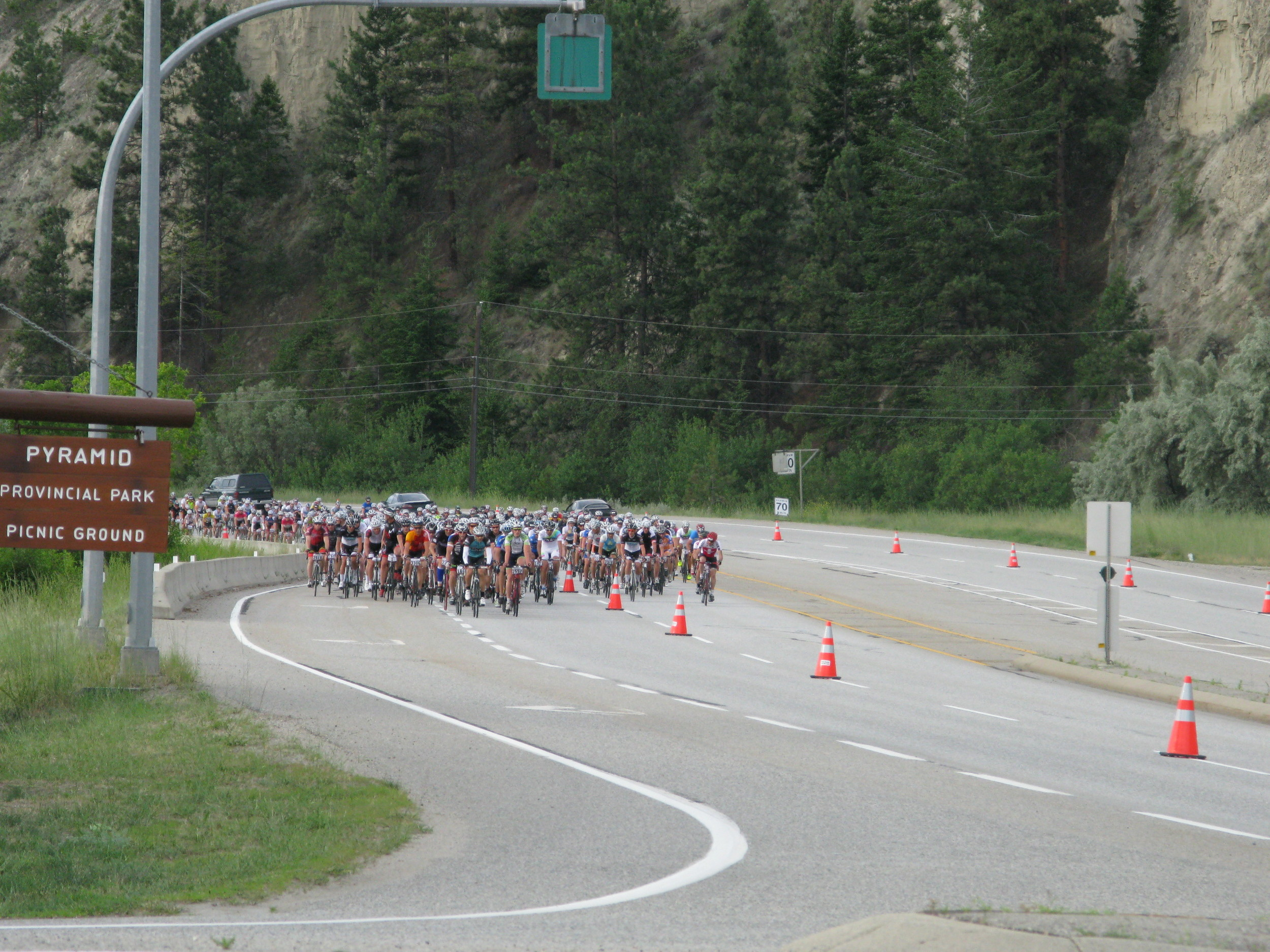 Lead pack heading out of Penticton towards Summerland.  I was in there somewhere.