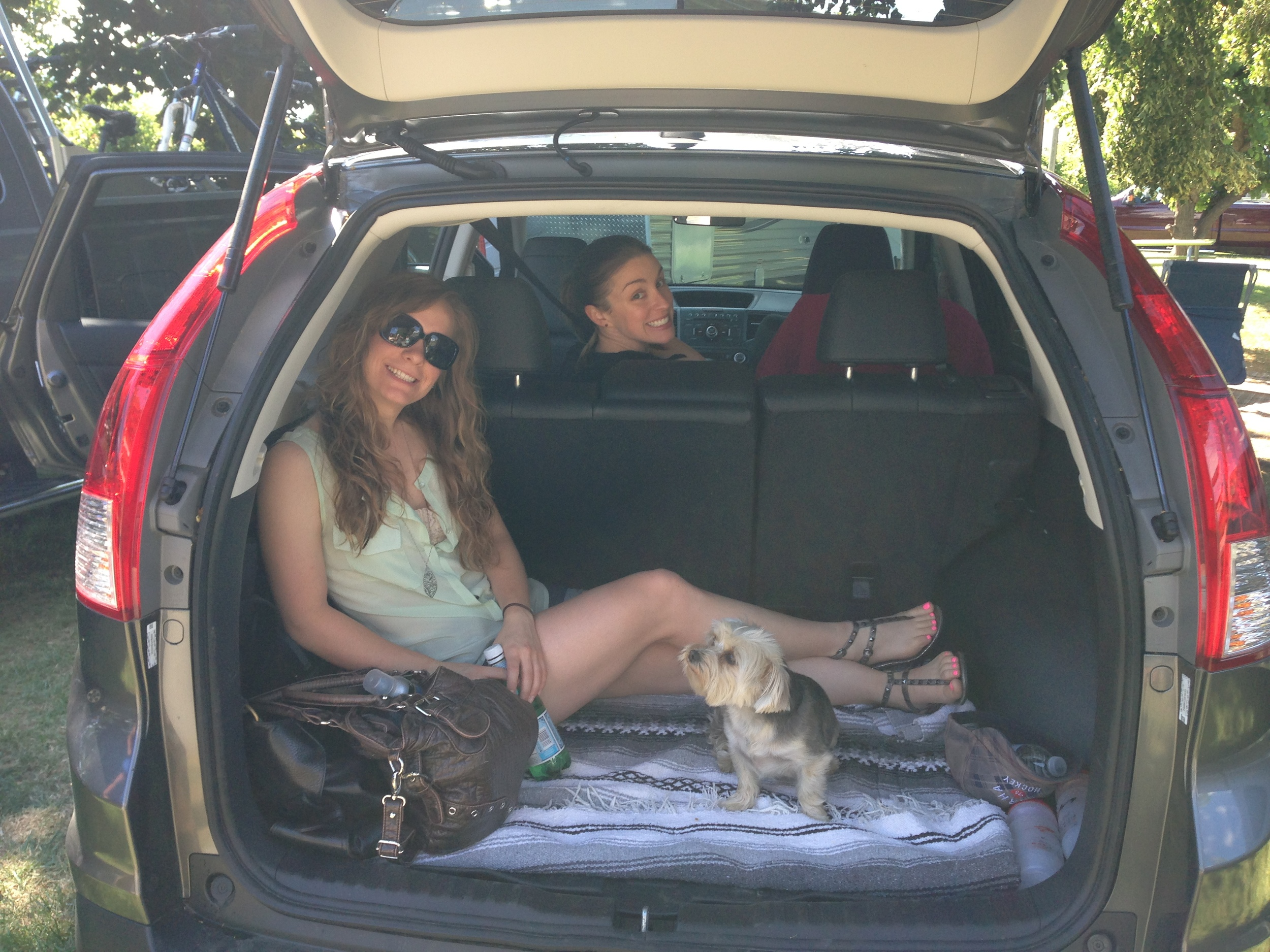 Pam and Laura ready for some wine tasting: had a pretty full car