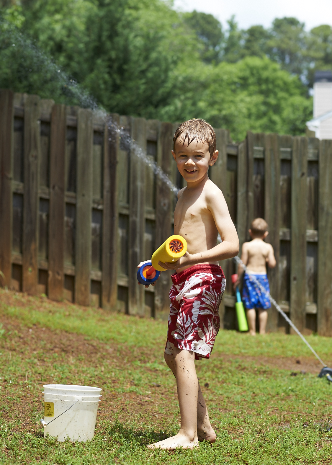 sprinkler, boy, childhood, photography