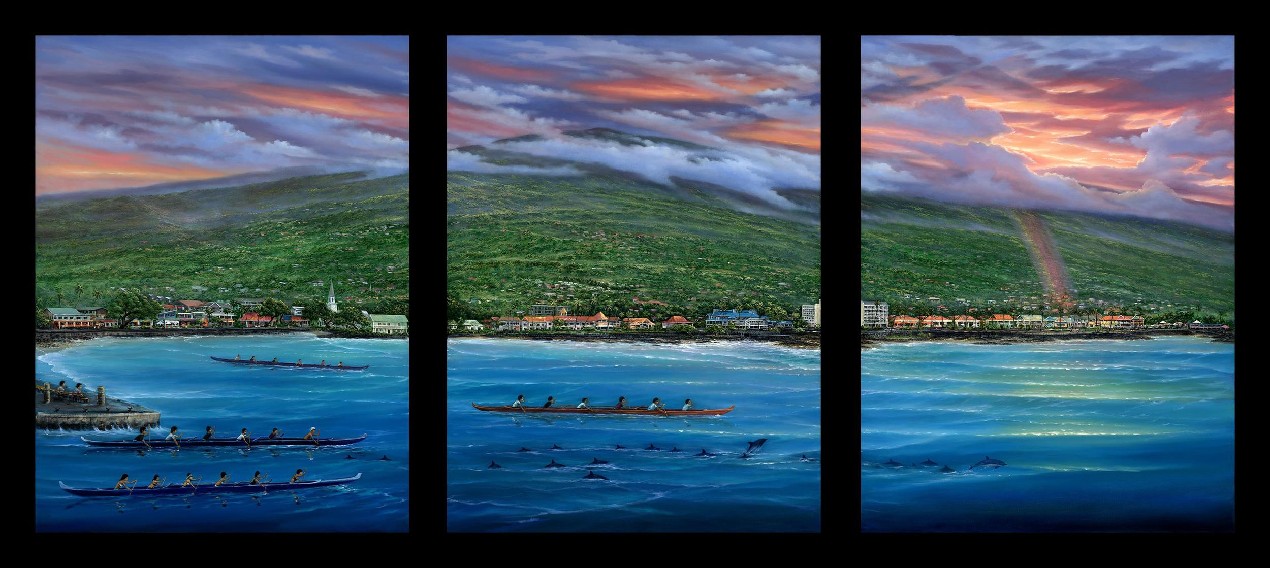 """Kona Town Sunrise"" 40x90"