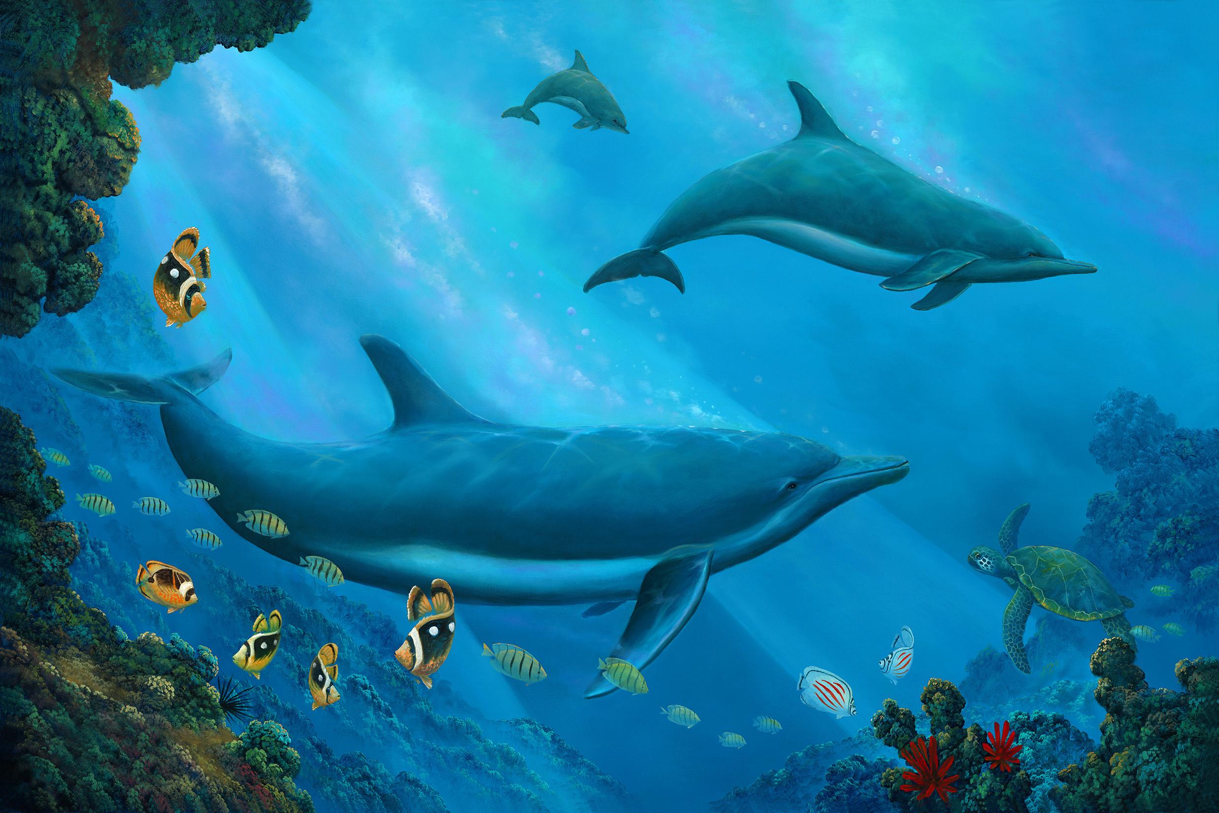 """""""Dolphin Trio"""" 24x36"""