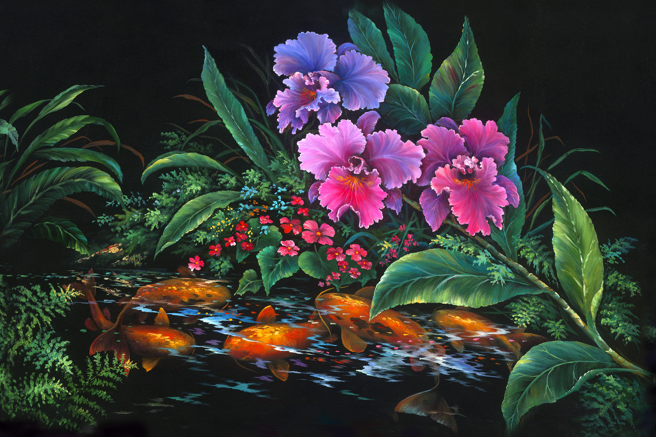 """Orchid Pond"" 24x36"