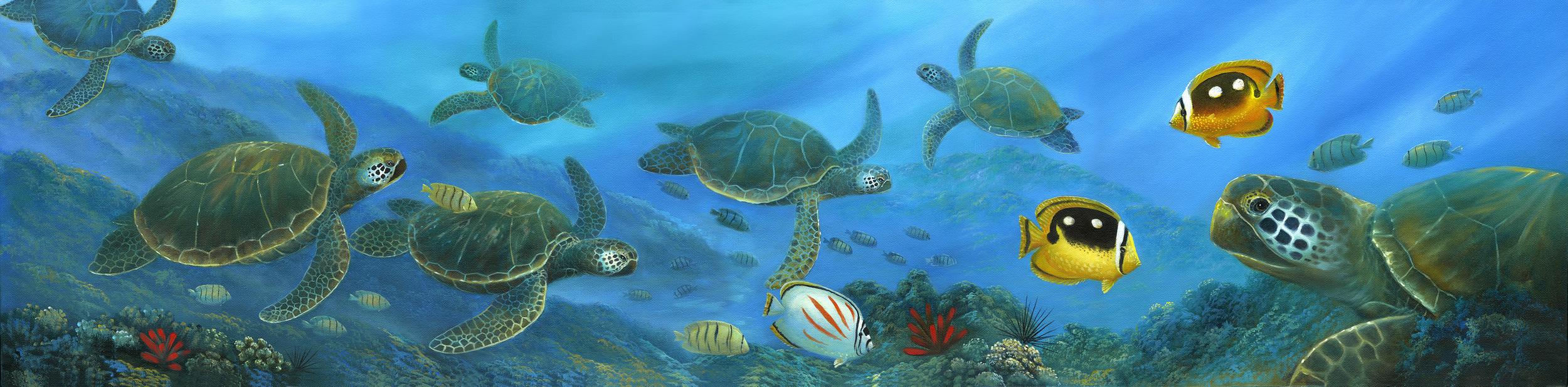 """Turtle Swim"" 12x48"
