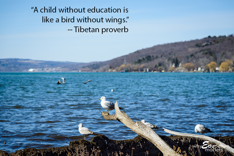 """A child without education is like a bird without wings."" -- Tibetan proverb"