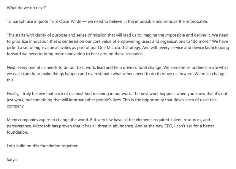 Satya Nadella Email to Employees on first day as CEO