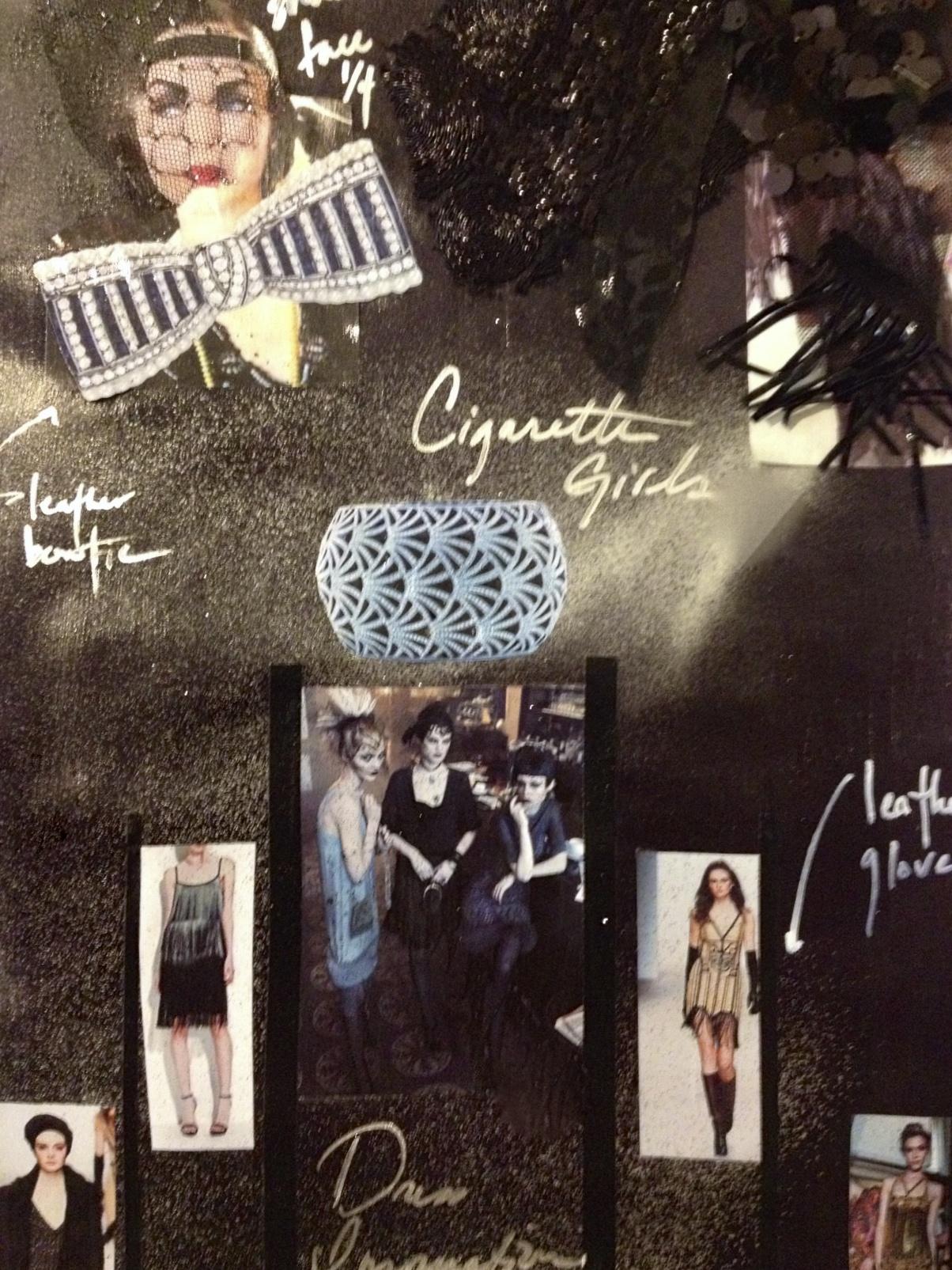 Mood board for models as cigarette girls.