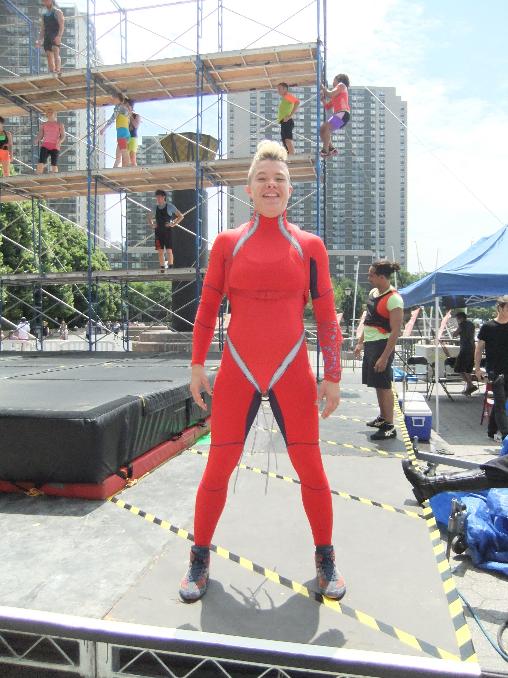 Jackie testing suit outside at the River to River Festival.