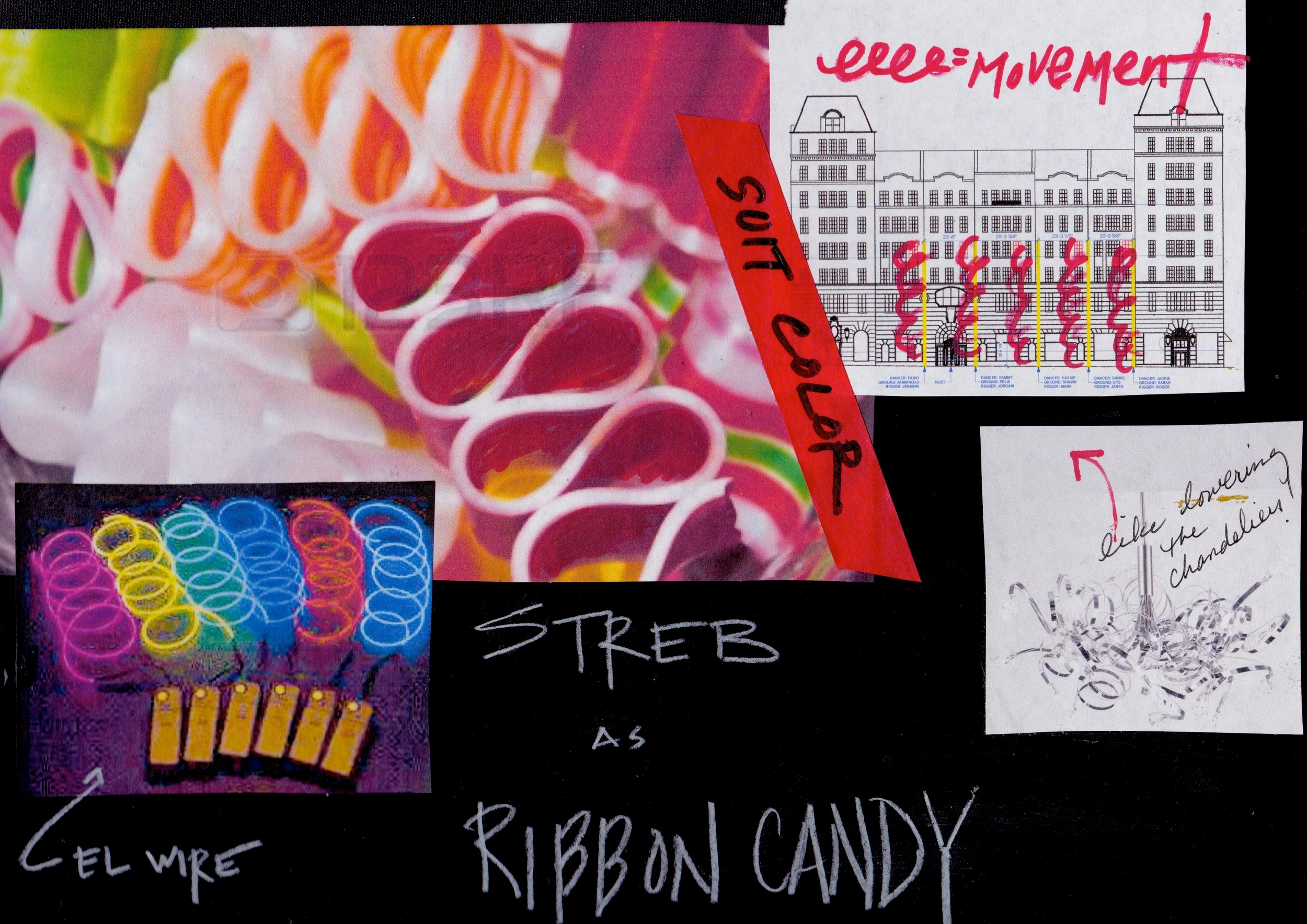Initial concept mood board: Streb as electric ribbon candy.