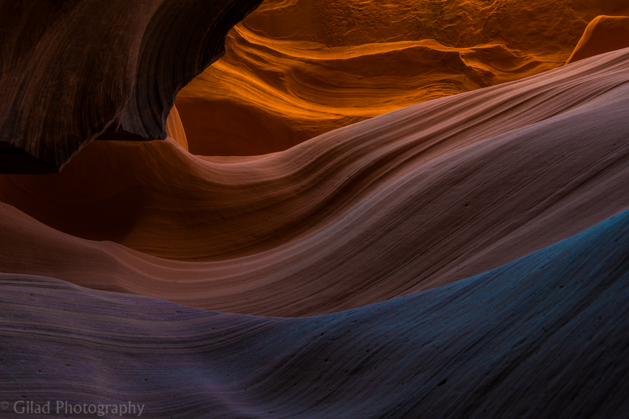 Sand formations at Antelope Canyon in Arizona